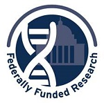 Badge indicating that a breakthrough in cancer research was made using federal funds