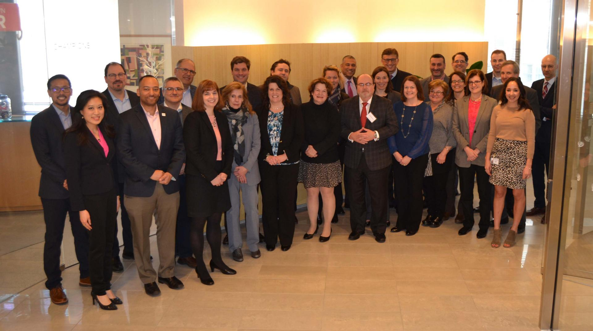 Members of CancerLinQ's Oncology Leadership Council meet at ASCO headquarters in Alexandria, Va. on Jan. 26.
