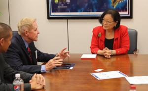Sen. Mazie Hirono with Dr. Charles Miller and Dr. Jared Acoba
