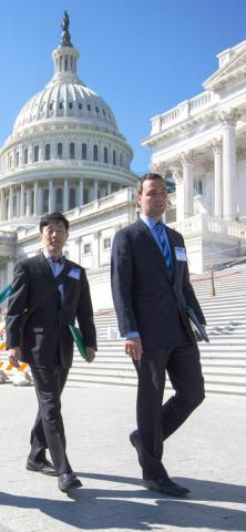 Photo of 2016-2017 Health Policy Fellows Dr. Steve Lee and Dr. Robert Daly on Capitol Hill