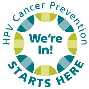 HPV cancer prevention logo We're In!