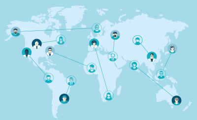 People connected across the globe.